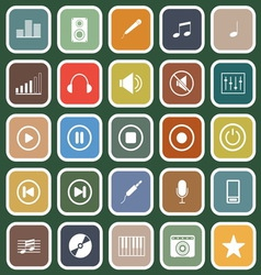 Music flat icons on green background vector image vector image