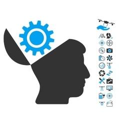 Open Head Gear Icon With Air Drone Tools Bonus vector