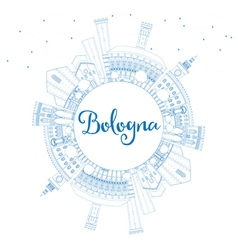 Outline Bologna Skyline with Blue Landmarks vector image