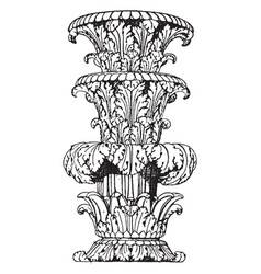 Part of shaft foliated state-candelabrum vintage vector