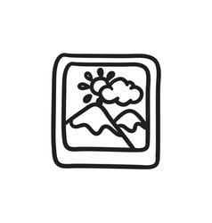 Picture sketch icon vector