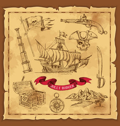 pirate elements hand drawn concept vector image