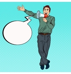 Pop Art Man with Megaphone Promoting vector image