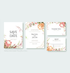 Protea flower cherry blossom wedding invite card vector