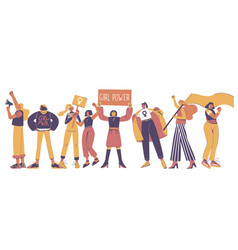 protesting young women flat isolated vector image