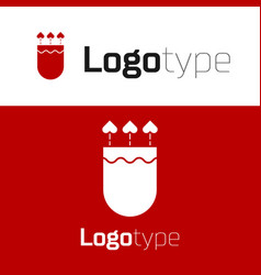 Red quiver and arrows with heart icon isolated on vector