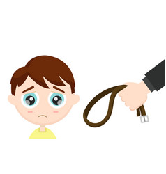sad frightened child and a parents hand vector image