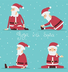 Santa Claus doing yoga color vector image