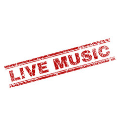 scratched textured live music stamp seal vector image