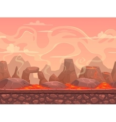 Seamless cartoon volcano desert landscape vector image