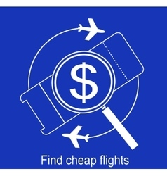 Search airline tickets icon vector