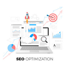 seo optimization concept data analytics search vector image