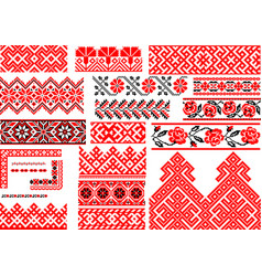 set 21 seamless ethnic patterns for embroidery vector image