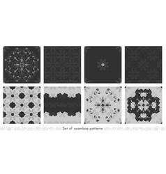 Set seamless patterns with spirals vector