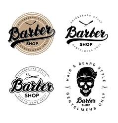 set vintage barber shop badges emblems labels vector image