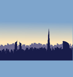 silhouette of dubai city beauty scenery vector image