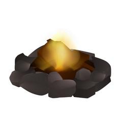 Small campfire icon realistic style vector