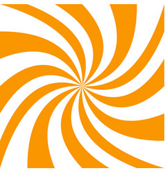 Spiral background from orange and white rays vector