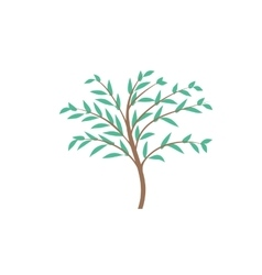 The thin trunk of the tree with leaves logo vector image