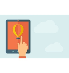 Touch screen tablet with air balloon icon vector image