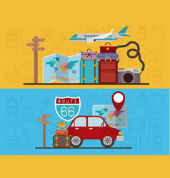 Travel around the world set icons vector