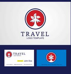 Travel hongkong creative circle flag logo and vector