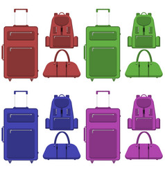 Travel suitcase bag and backpack in different vector