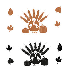turkey bird and pumpkin black and brown icon vector image