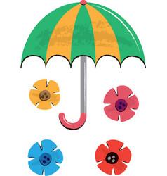 umbrella and flowers children vector image