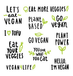 Vegan signs set vector