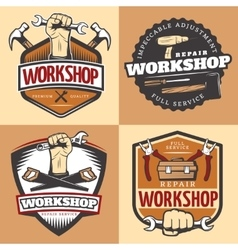 Vintage Repair Workshop Emblem Set vector image