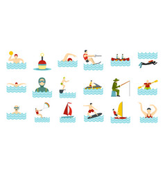 water activities icon set flat style vector image