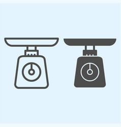 Weight scales line and solid icon domestic vector