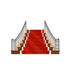 wide staircase with metal handrails and wooden vector image
