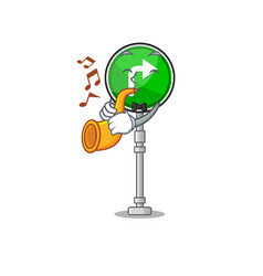 With trumpet turn right shape with cartoon vector