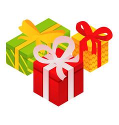 xmas gift boxes icon isometric style vector image