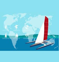 Yacht club banner design with sport trimaran vector