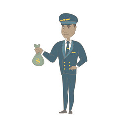 Young african-american pilot holding a money bag vector
