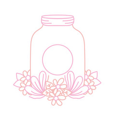 Color line mason glass with sticker and flowers vector