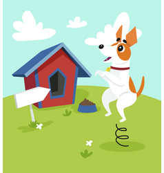 cute jack russell terrier dog jumping on vector image vector image