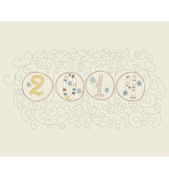 Hand drawn 2014 numbers vector image