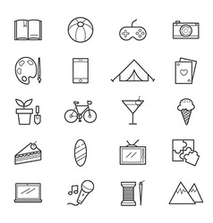 Hobbies and Activities Icons Line vector image vector image