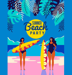People on the beach poster vector