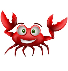 red crab cartoon smiling vector image