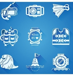 White icons collection of diving vector image vector image