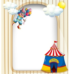 A template with a clown and a circus tent vector image vector image