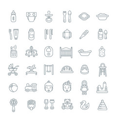 baby care flat line icons vector image vector image