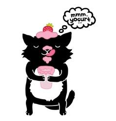 black cat with yogurt cute cartoon animal vector image vector image