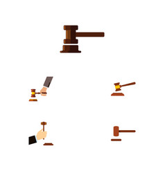 flat icon court set of hammer defense government vector image vector image