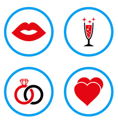 love symbols rounded icons vector image